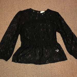 Anthropologie long sleeve lace peplum blouse
